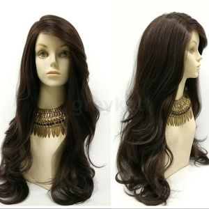 Brown Lace Front Side Part Long Heat Resistant Wig